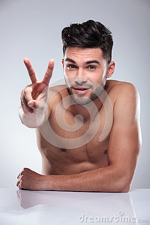 Free Naked Man Making The Victory Peace Hand Sign Royalty Free Stock Photos - 42667048