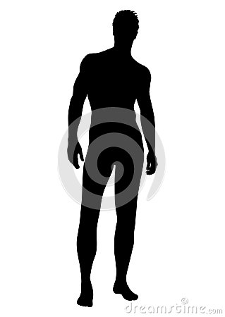 Free Naked Man Vector Silhouette, Contour Human, Outline Portrait Muscular Male Athlete Standing Front Side Full-length In Underwear Is Stock Photo - 100140850