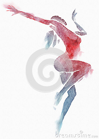 Naked Modern Dancer Red-Blue Watercolor on White