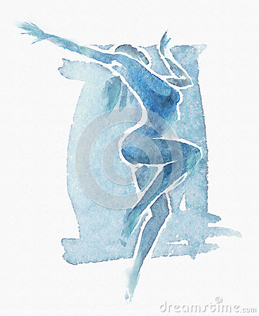 Naked Modern Dancer Watercolor Blue