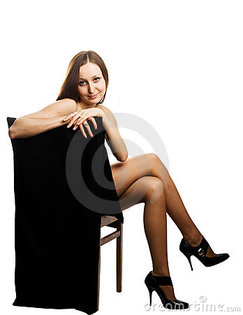Naked pretty girl in black pantyhose