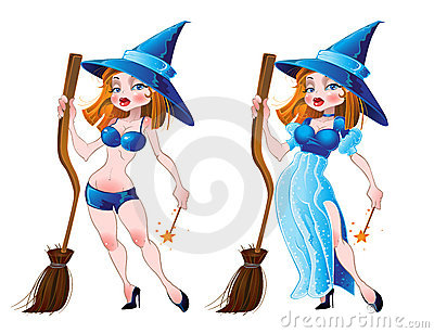Naked sexy witch and in blue dress