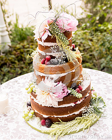 naked wedding cake stock photo image 46817182