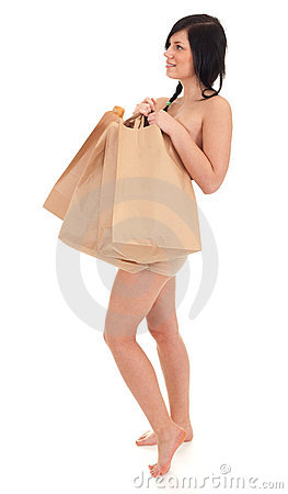 Naked woman covering by paper bags