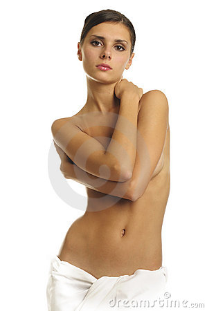 Naked woman in towel