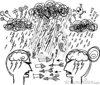Nakreśleń doodles: pary argumentowanie