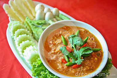 Nam prik pla ra thai food