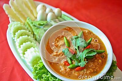 Nam prik pla ra thai food