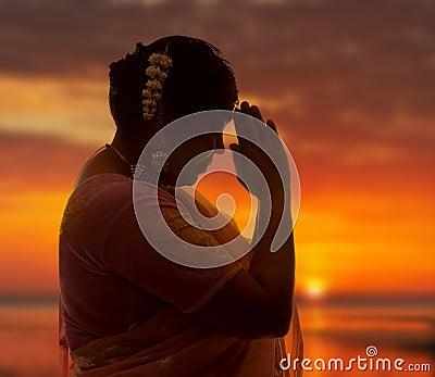 Namaste at sunset