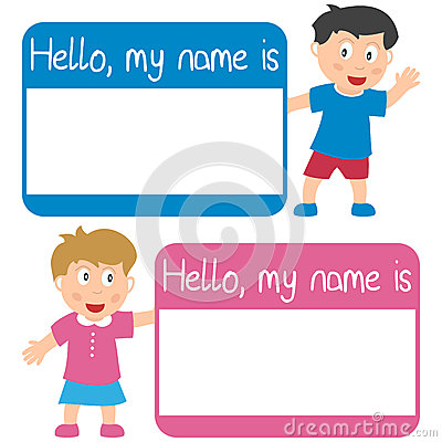 Name Tag with Kids Vector Illustration