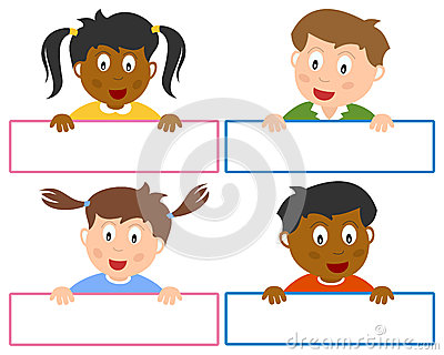 Name Tags for Kids Vector Illustration