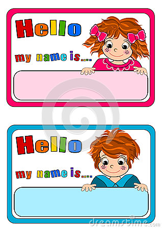 Name Tags For Kids Stock Photography CartoonDealercom - Hello my name is tag template
