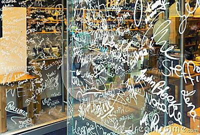Names on store showcase