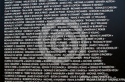 Names at the vietnam war memorial Editorial Photo