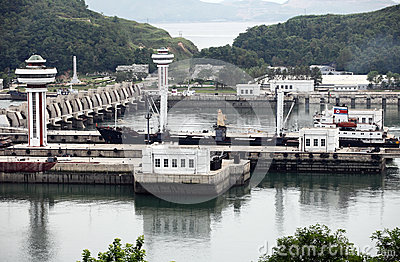 Nampo West Sea Barrage Editorial Stock Photo