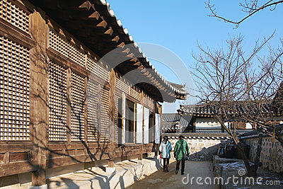 Namsangol Hanok Village in winter Editorial Image