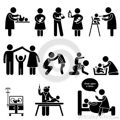 Nanny Mother Father Baby Child Care Pictogram