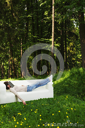 Nap in green forest