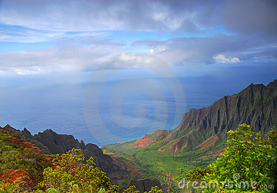 Napali valley along the coast of Kauai, Hawaii