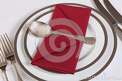 Napkin folded as an envelope