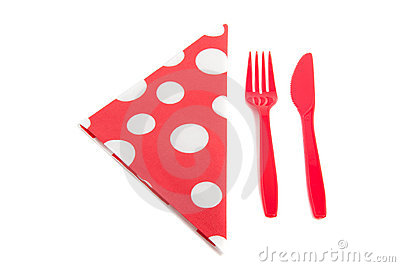 Napkin with plastic cutlery
