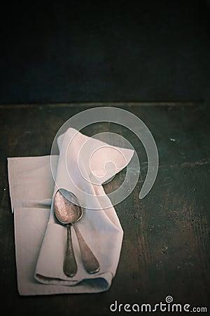 Napkin and teaspoons