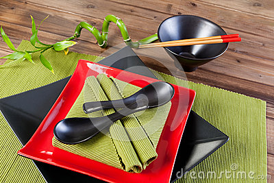 Napkins spoons and chopsticks