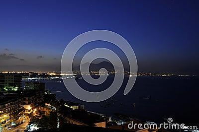 Naples bay daybreak with Vesuvius