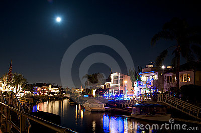 Naples California canal during Christmas