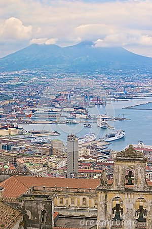 Naples harbor and Mount Vesuvius Editorial Photo