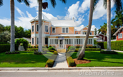 Naples home editorial stock image for Wood frame house in florida