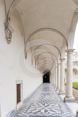 Free Naples, Italy. Ancient Cloister Columns Of The Certosa Of San Martino Royalty Free Stock Images - 118586169