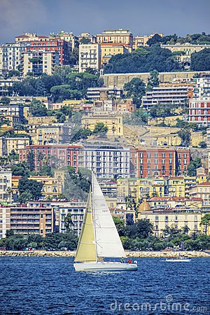 Naples Mergellina, view from the sea Editorial Photography