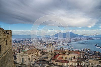 Naples and mount Vesuvius view from the fortress