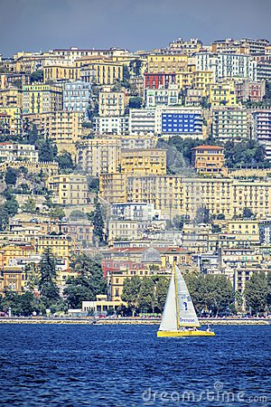 Naples town from the sea Editorial Photography