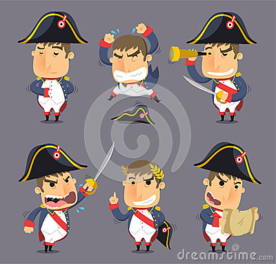 Free Napoleon Cartoon Action Set Royalty Free Stock Photography - 47053567