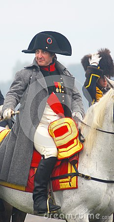 Napoleon riding a horse at historical reenactment Editorial Stock Image