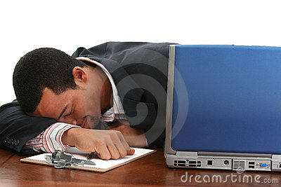Napping businessman
