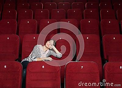 Napping woman at the cinema