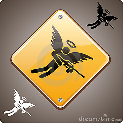 Naprzód anioła uzbrojony ostrzeżenie
