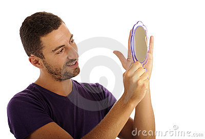 Narcissist looking in the mirror