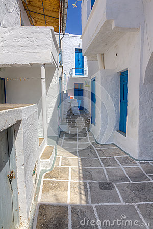 Narrow alley in Kimolos island, Cyclades, Greece