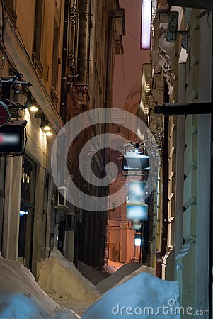 Narrow alley in winter