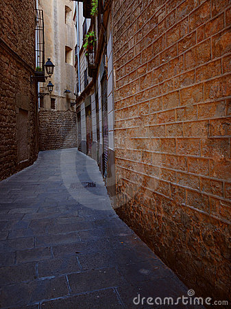 Narrow alleyway in Barcelona