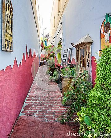 Narrow alleyway in historic Paulsbo, Washington Editorial Photo