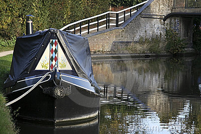 Narrow boat on grand union canal hertfordshire