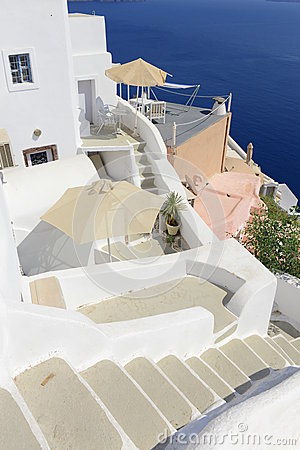 Narrow Climbing Streets In Oia Village Santorini Royalty