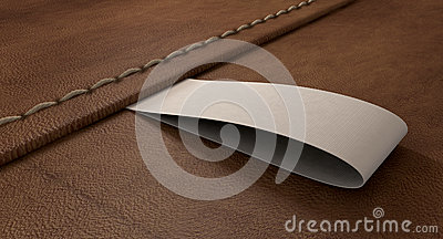 Narrow Clothing Label On Leather Perspective