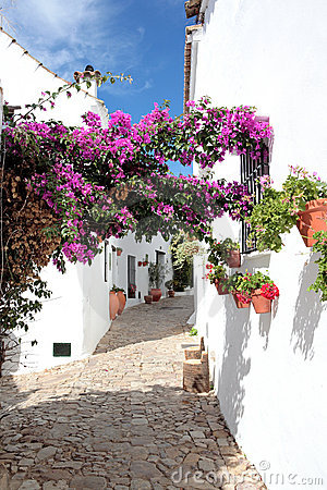 Free Narrow, Cobbled Streets And Houses Of Spanish Pueblo Stock Photo - 1458630