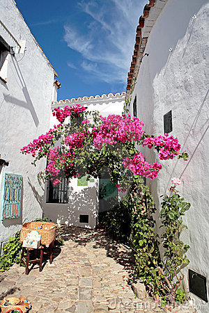 Free Narrow, Cobbled Streets And Houses Of Spanish Pueblo Royalty Free Stock Image - 1458756